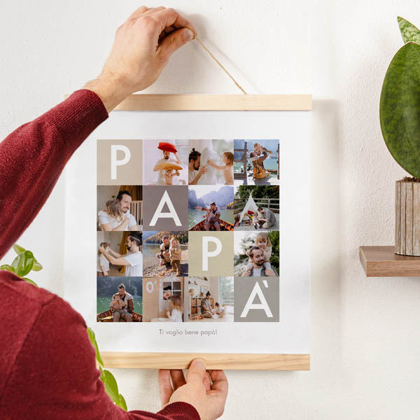 Stampa Poster Collage Papà Poster 30x30 con astine in legno